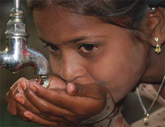 Southeast Asian Girl Drinking Water