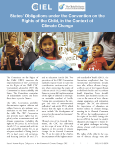 Read the report - States' Obligations under the Convention on the Rights of the Child, in the Context of Climate Change