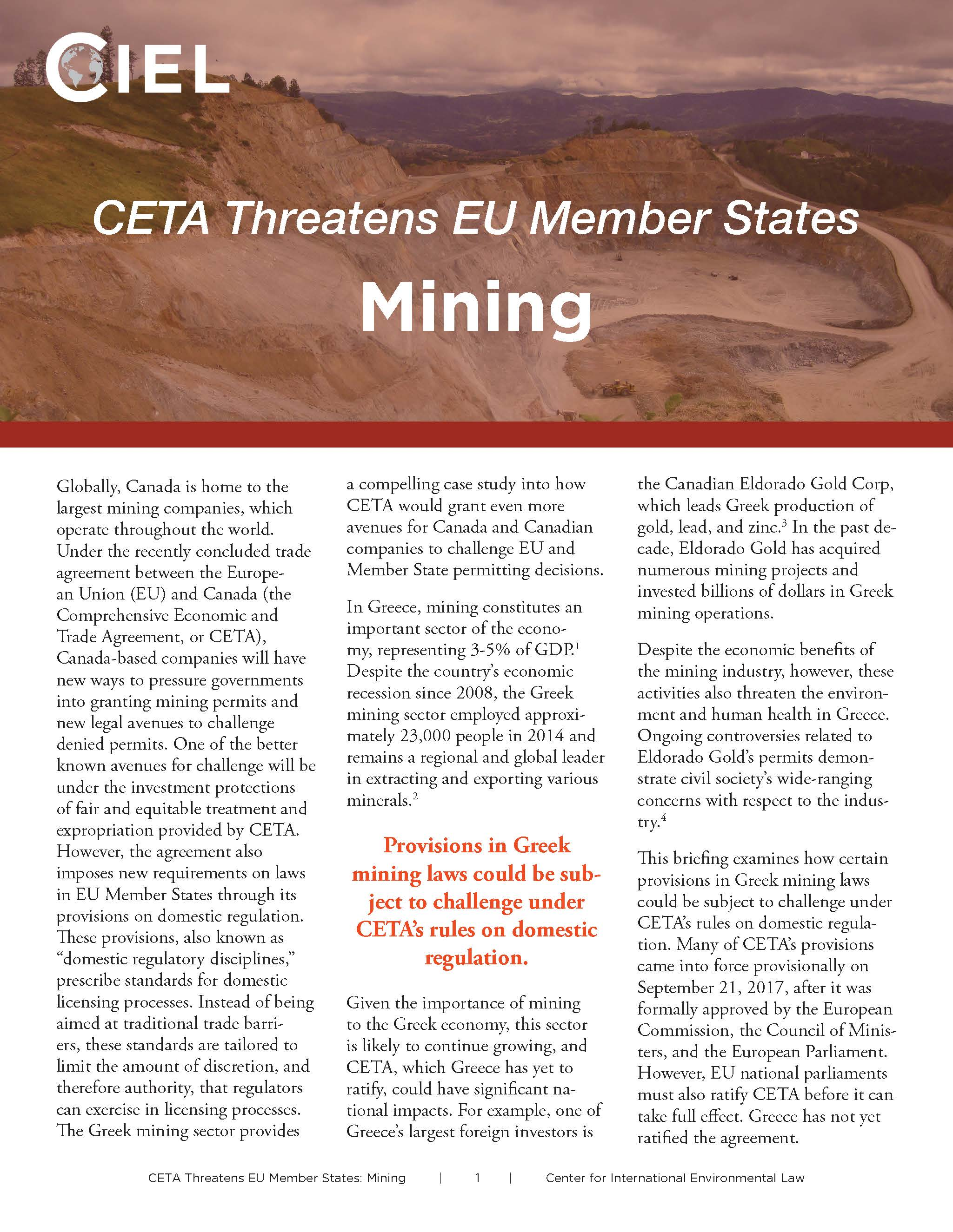CETA mining v3 1 | Center for International Environmental Law